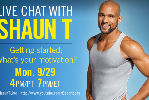 Insanity creator Shaun T live chat about getting started and motivated to do a fitness program.