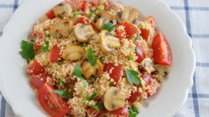 Beachbody Blog couscous with cherry tomatoes and mushrooms recipe