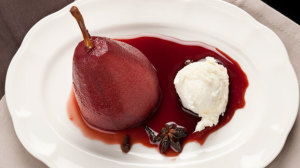 Wine poached pears with mascarpone