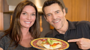 Tony Horton and Shawna make an open-faced egg sandwich