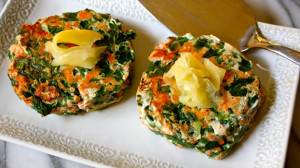 Spinach salmon patties with pickled ginger