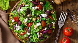 Veggie salad on table