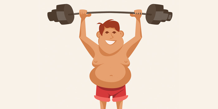 cartoon man lifting weight