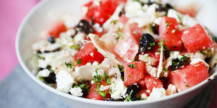 watermelon and feta salad with kalamata olives and fresh herbs