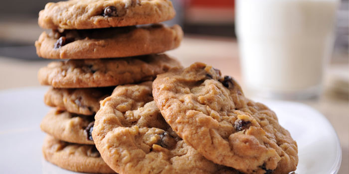 batch of these yummy pumpkin oatmeal cookies with raisins and pecans ...