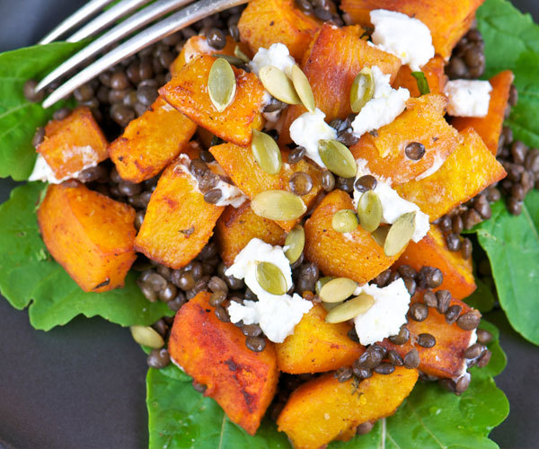 Healthy pumpkin lentil salad recipe