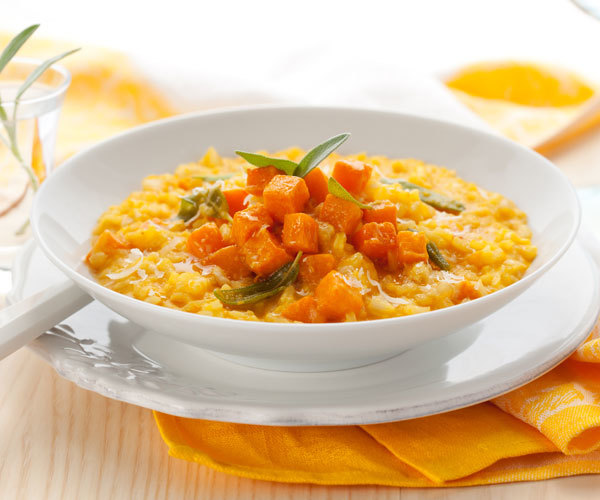 Pumpkin risotto recipe made with brown rice.