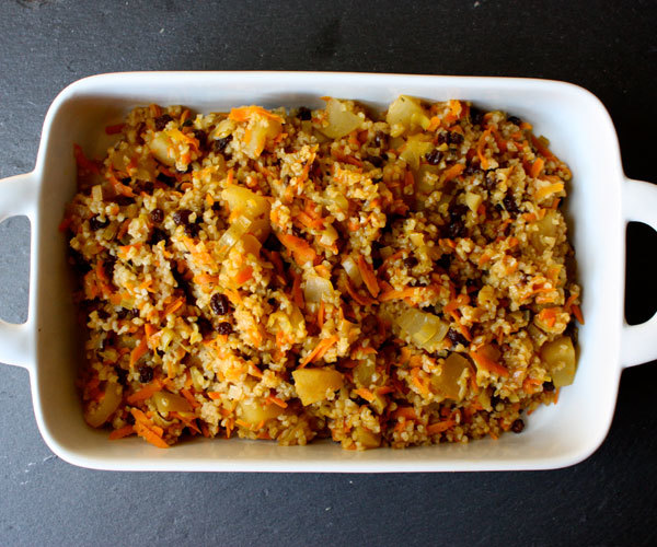 ... , this stuffing is made with Bulgur wheat, apples, and currants