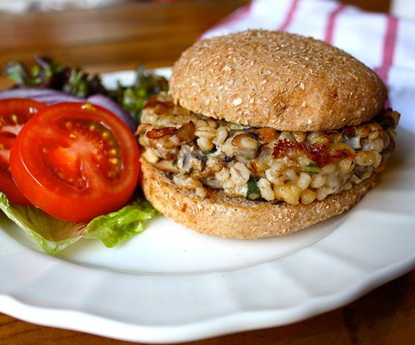 Mushroom Barley Burgers with Sage