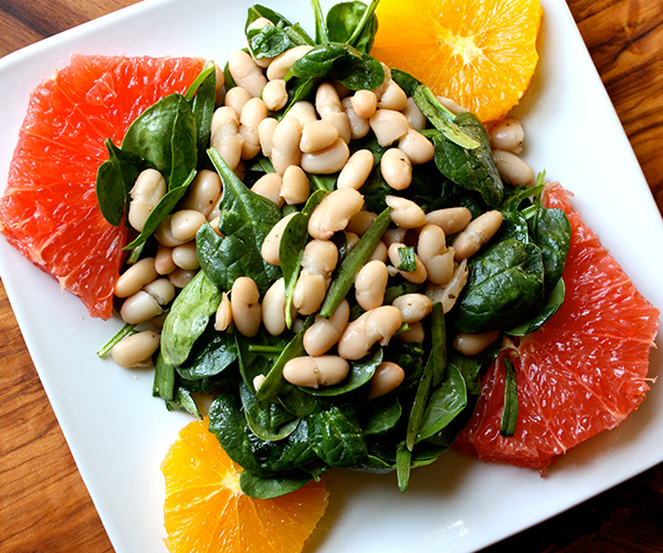 Spinach and White Bean Salad with Orange and Grapefruit