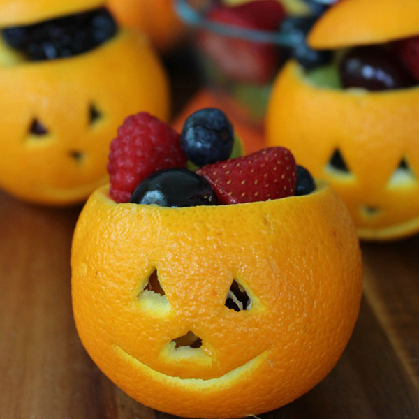 Jack O' Lantern Fruit Cups Halloween Snack