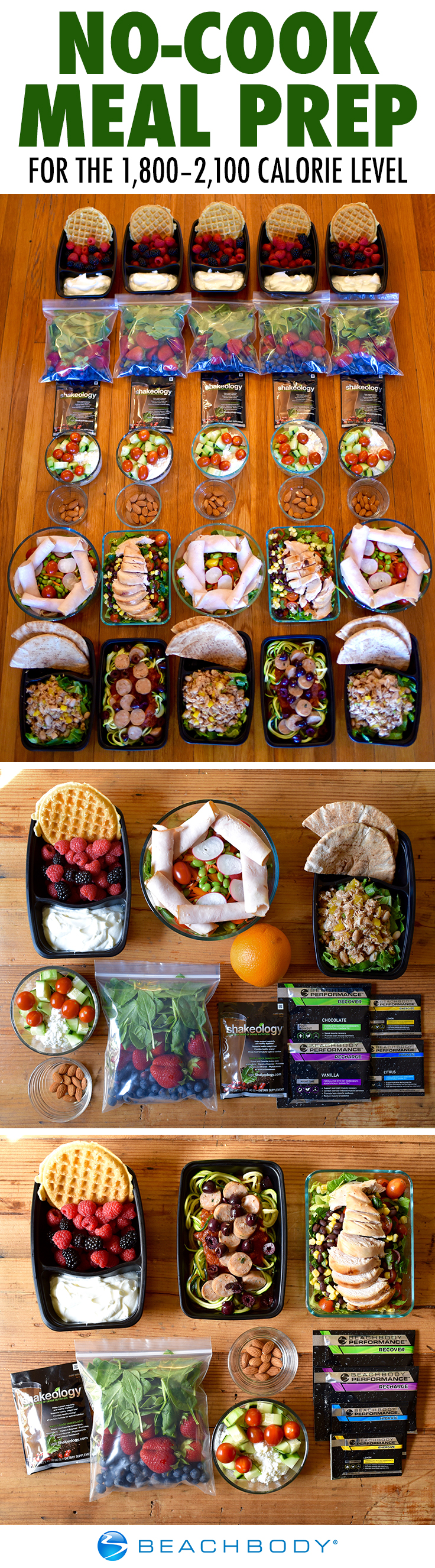 No Cook Meal Prep For The 1 800 2 100 Calorie Level The Beachbody Blog