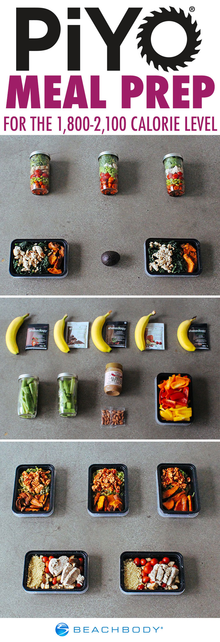PiYo Meal Prep For The 1,800–2,100 Calorie Level