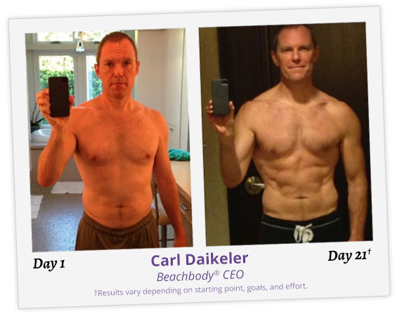 Photo of Carl Daikeler, CEO of Beachbody, before and after 21 days. He lost 12 pounds.