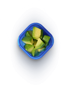 Container with avacado