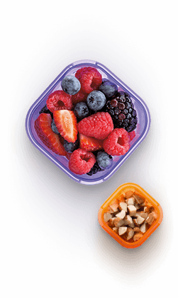 Containers with nuts and fruits