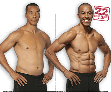 Photo of Juliez before and after 8 weeks of 22 Minute Hard Corps. He's gained muscle definition in his arms, chest, and abs.
