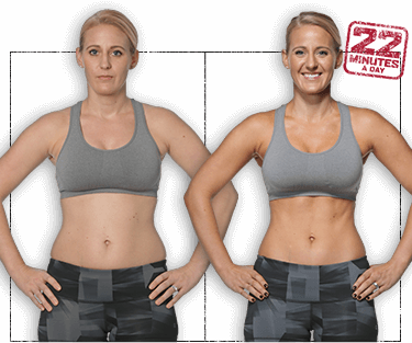 Photo of Katie before and after 8 weeks of 22 Minute Hard Corps. She's gained muscle definition in her arms, chest, and abs.