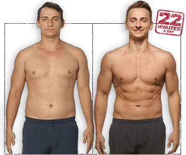 Photo of Vitaly before and after 8 weeks of 22 Minute Hard Corps. He's gained muscle definition in his arms, chest, and abs.