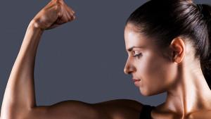 Positive self esteem - woman flexing