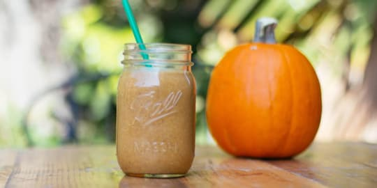 Pumpkin pie Shakeology recipe using pumpkin puree and Vanilla Shakeology.