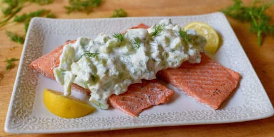 Oven-Poached Salmon with Cucumber Sauce Recipe | BeachbodyBlog.com