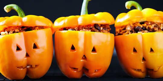 Jack-o'-Lantern Stuffed Peppers Recipe