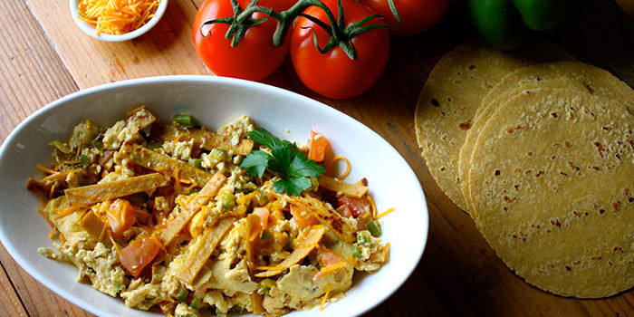 Migas Tex-Mex scrambled eggs with veggies recipe