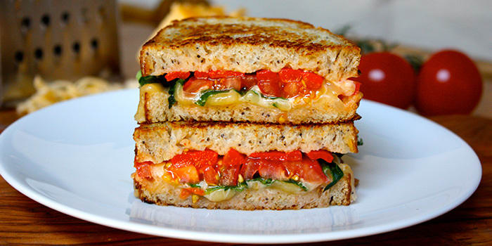 Smoked Gouda Grilled Cheese with Arugula and Roasted Red Peppers
