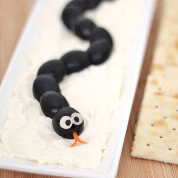 Snake in Hummus Halloween Snack