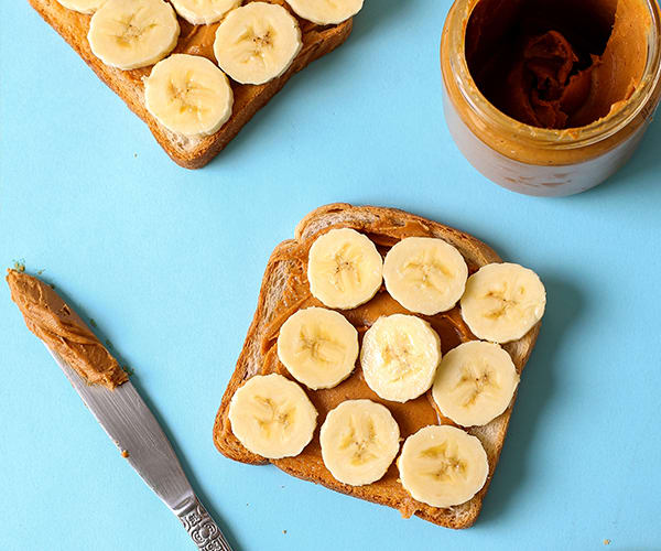 Healthy Snacks for Work Under 200 Calories - Peanut Butter and Banana Sandwich