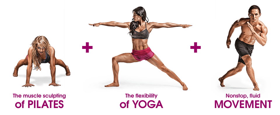 The muscle sculpting of Pilated plus the flexibility of Yoga plus nonstop, fluid movement.