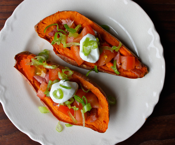 Sweet potato skins with turkey bacon