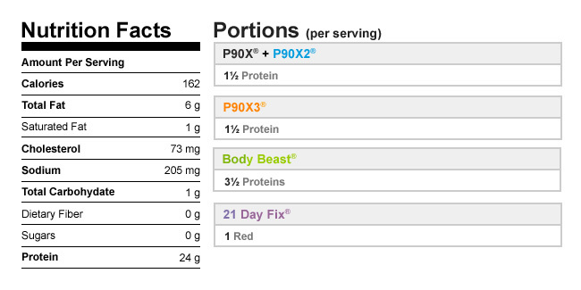 Herb Chicken nutrition facts and meal plan portions