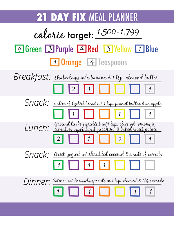 Simplicity image with regard to 21 day fix printable meal planner