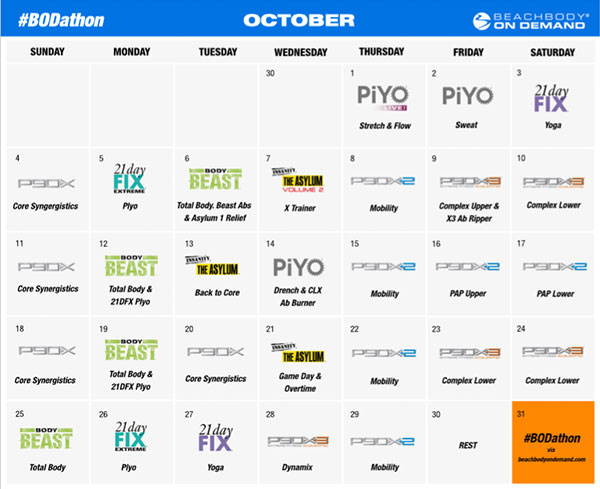 October BODathon Schedule
