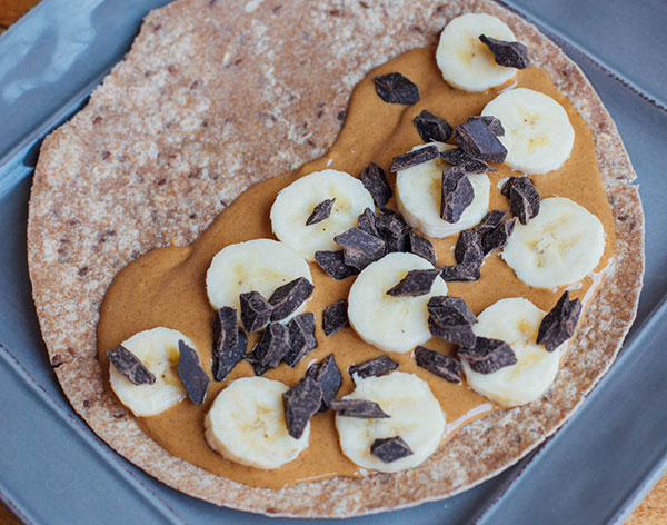 Chocolate, Peanut Butter, and Banana Quesadilla