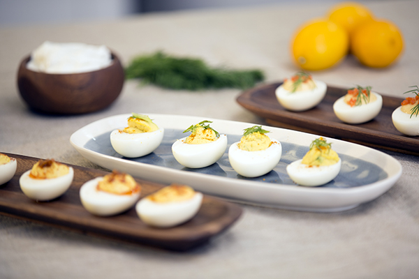 Deviled Eggs Three Ways FIXATE Game Day Recipes // healthy game day snacks