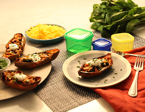 Loaded Sweet Potato Skins FIXATE Game Day Recipes // healthy game day snacks